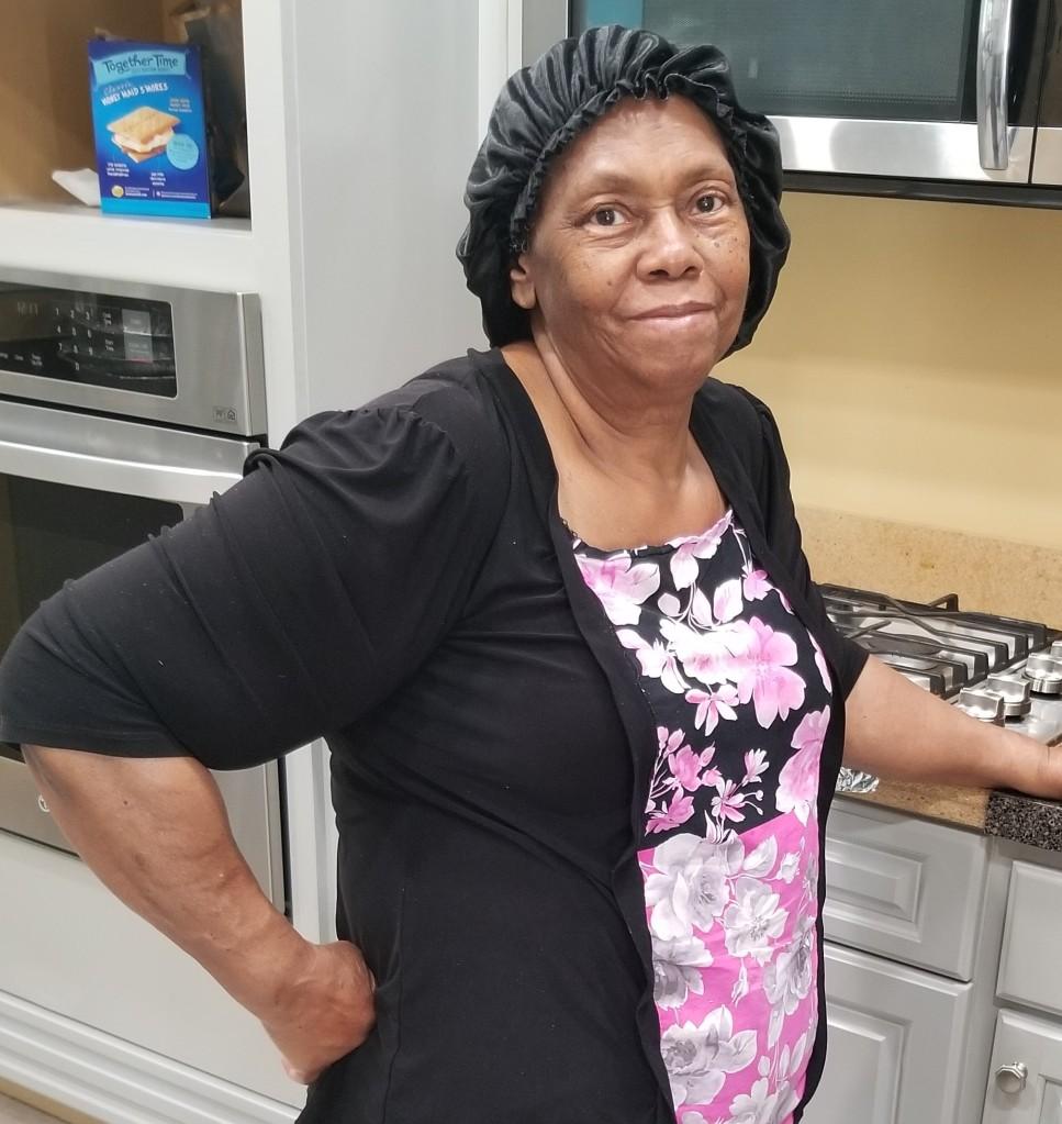 Linda manning the kitchen
